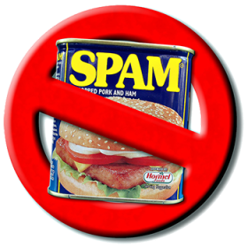 anti-spam banner, with a spam can