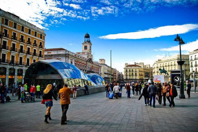Puerta del Sol under clear blue sky