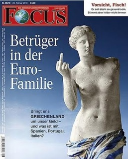 Focus front cover with Milos' Afrodite raising the finger