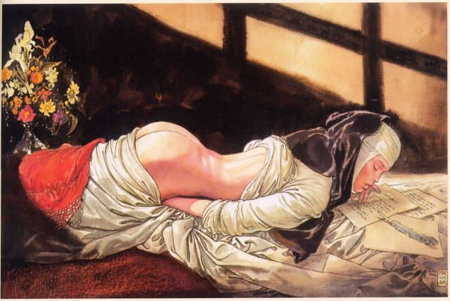 A nun reading a letter and touching herself, by Milo Manara